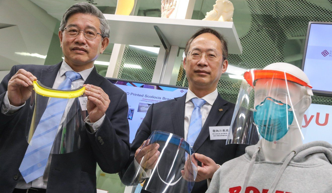 The Polytechnic University lab 3D printing face shields for coronavirus-battling Hong Kong hospital workers