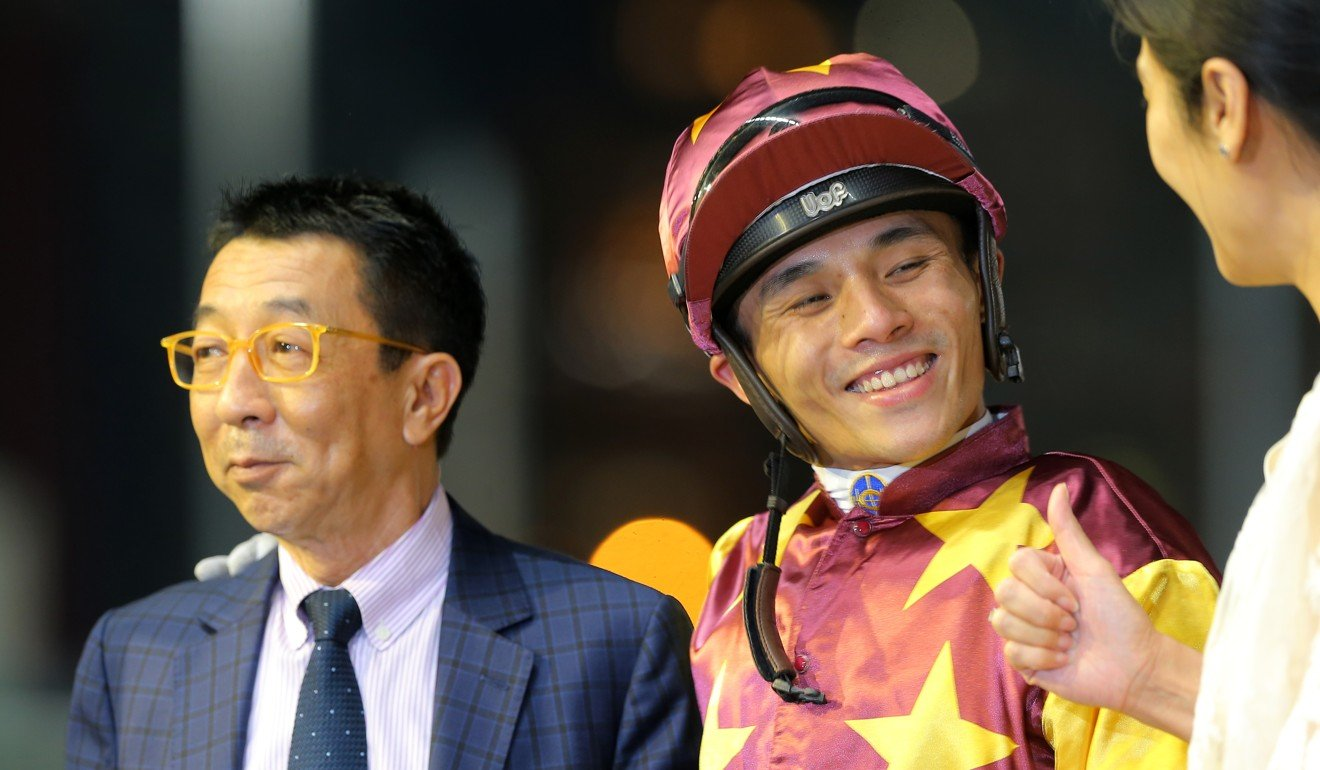 Alfred Chan enjoys a win with trainer Me Tsui and Very Sweet Orange's connections.