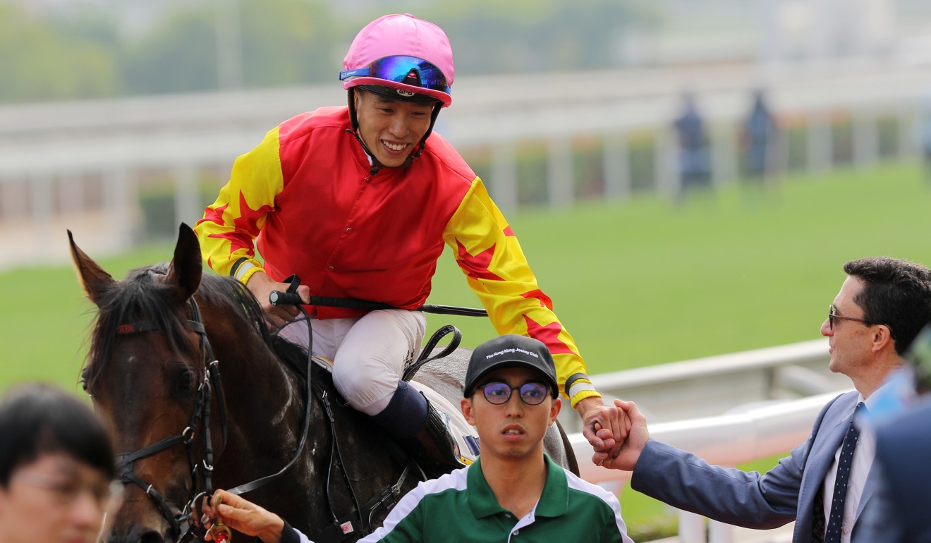 Vincent Ho with Douglas Whyte after a victory from Farhh Above.