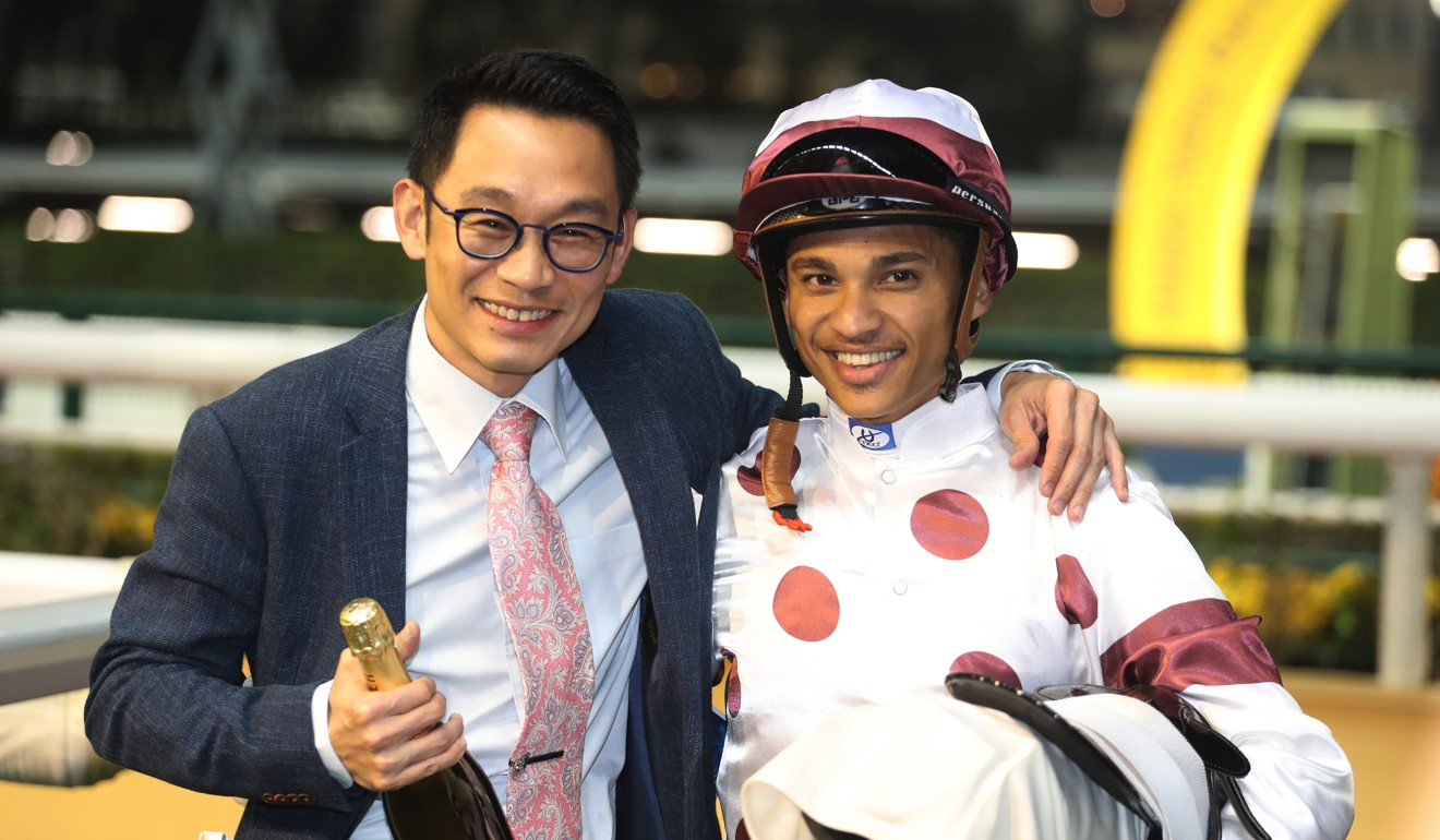 Trainer Jimmy Ting with Grant van Niekerk after Takingufurther's win.