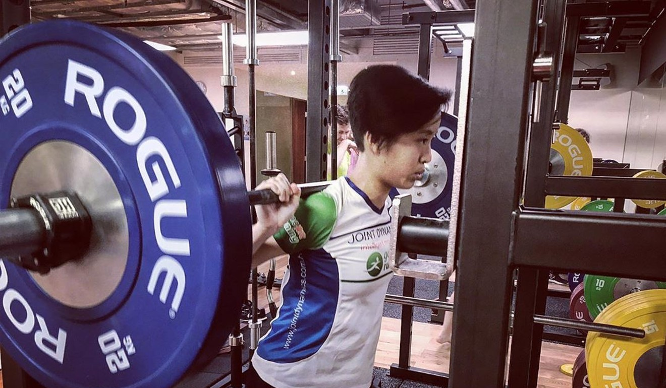 Mary Hui improves her strength for trail running with weights. Photo: Handout