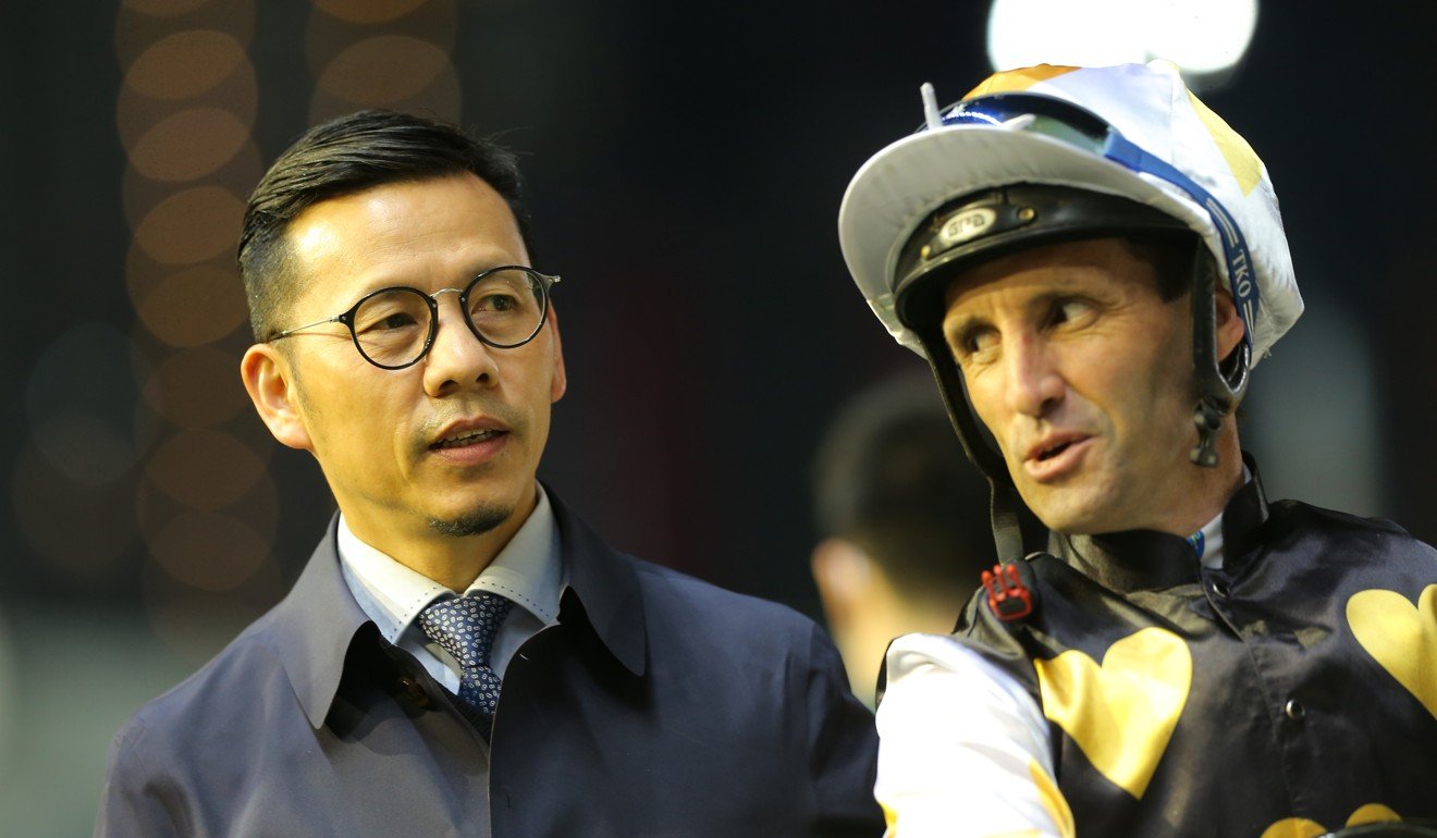 Frankie Lor and Neil Callan after Solar Wai Wai's win at Happy Valley.
