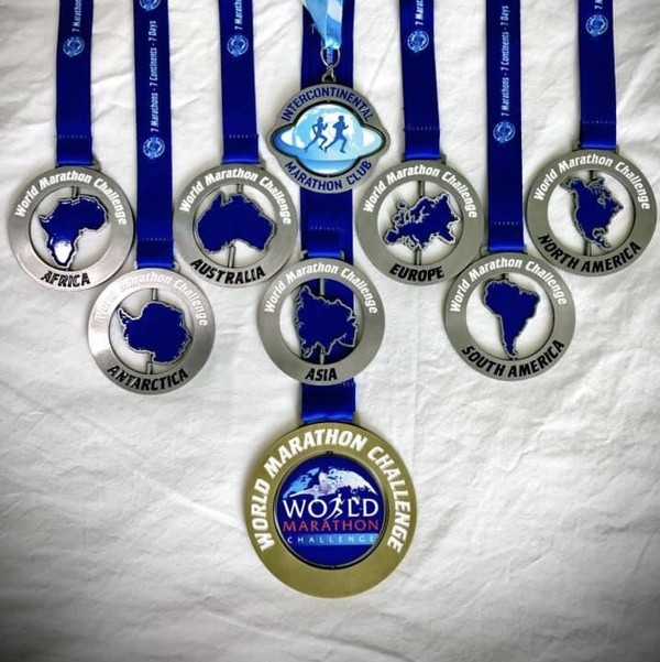 Janine Canham's medals, earned after drawing a line under the Antarctic half.