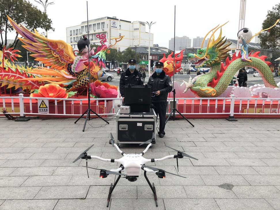 Police in Suqian of Jiangsu province using drones made by Shenzhen Smart Drone UAV to disperse crowds and broadcast public health updates. Photo: Handout