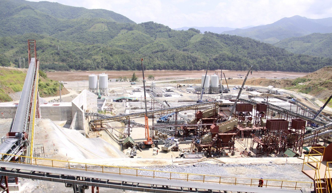 Construction in 2012 of the controversial Xayaburi dam in Laos, which opponents say adversely affects communities along the Mekong and the biodiversity of the river. Photo: EPA