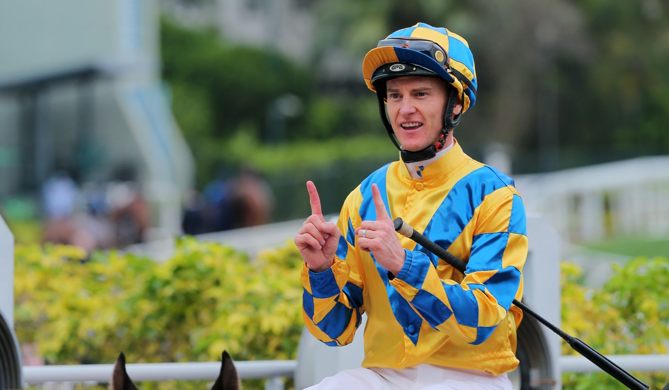 Zac Purton lands his 1,100th Hong Kong winner at Sha Tin on Sunday.