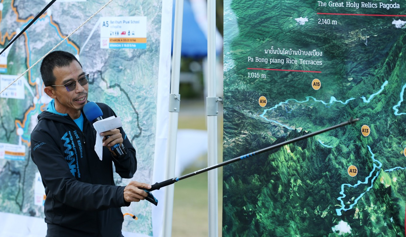 Chumphol Krootkaew during the pre-race briefing introducing the race course. Photo: Thailand by UTMB