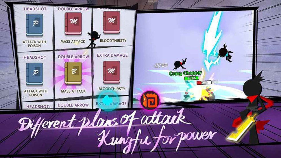 A screenshot of attack options in martial arts-themed casual mobile game Combat of Hero, published by ByteDance subsidiary Ohayoo. Photo: Handout