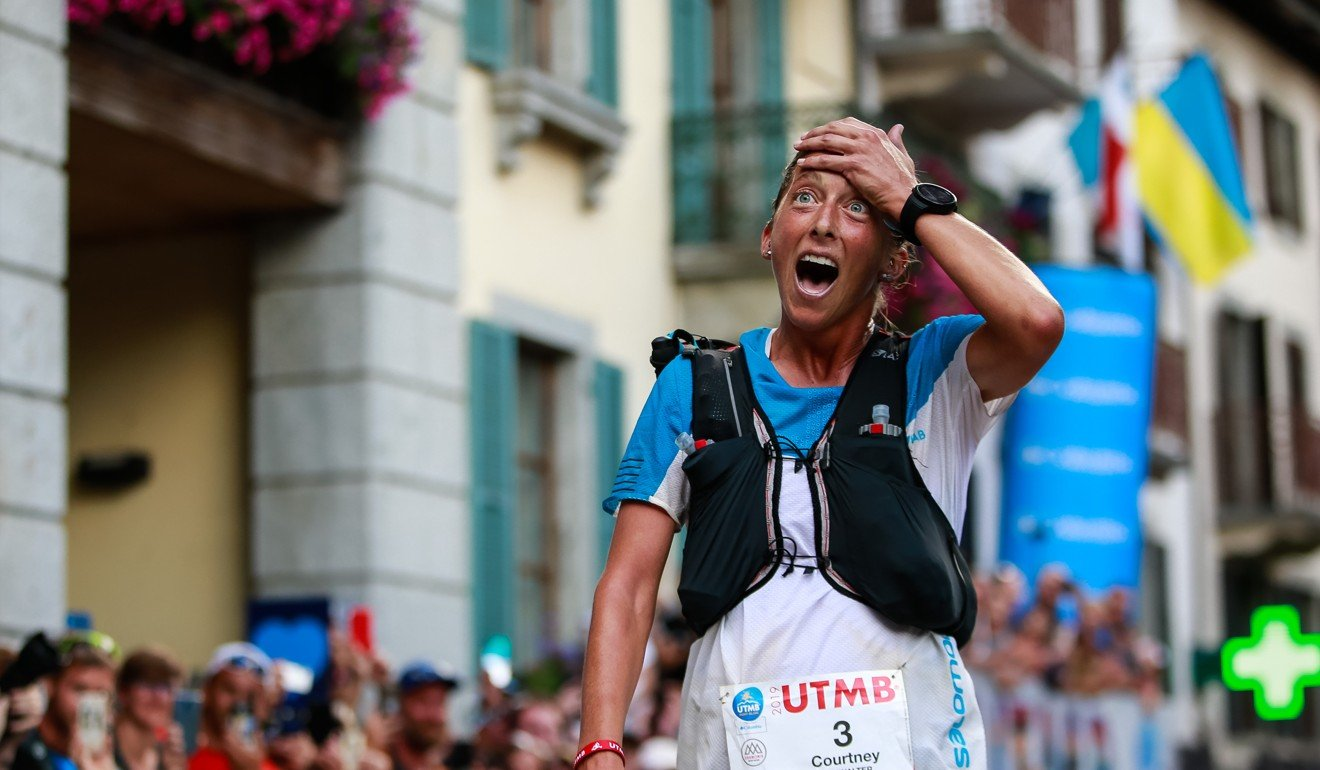 Courtney Dauwalter wins the UTMB 2019 – the organisers believe exposure and minimal prize money is compensation enough. Photo: UTMB/Christophe Pallot
