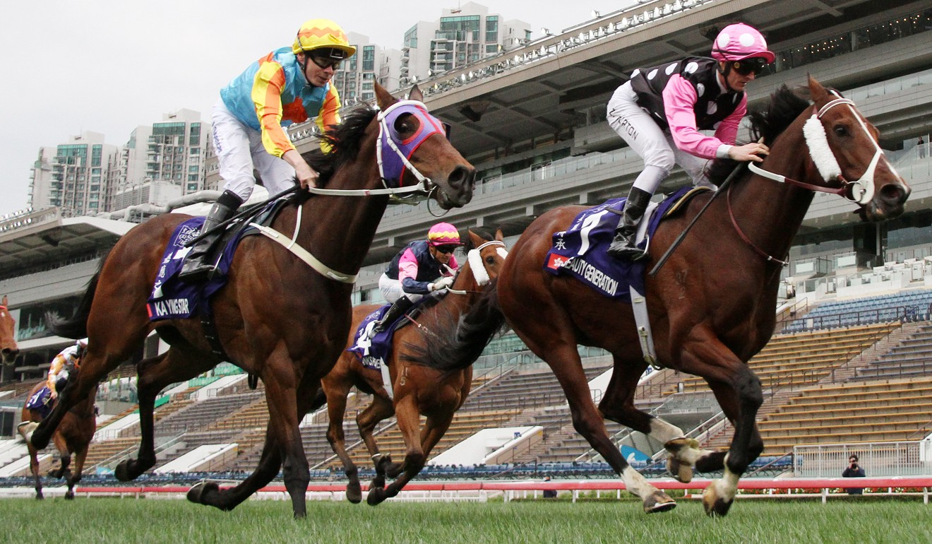 Jamie Spencer and Ka Ying Star (left) finish second to Beauty Generation in the Group One Queen's Silver Jubilee Cup last month.