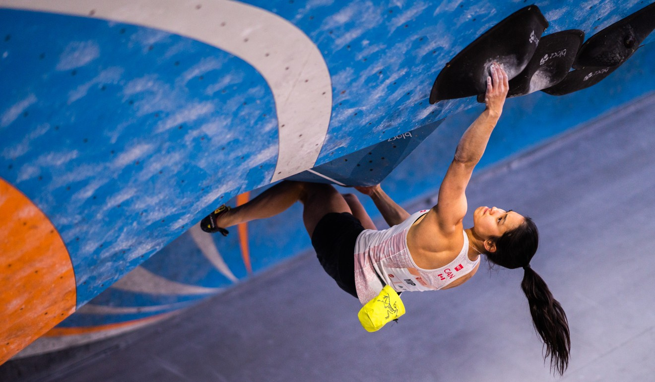 The 26-year-old Alannah Yip assesses the problem ahead during her Olympic qualifier last month. Photo: IFSC