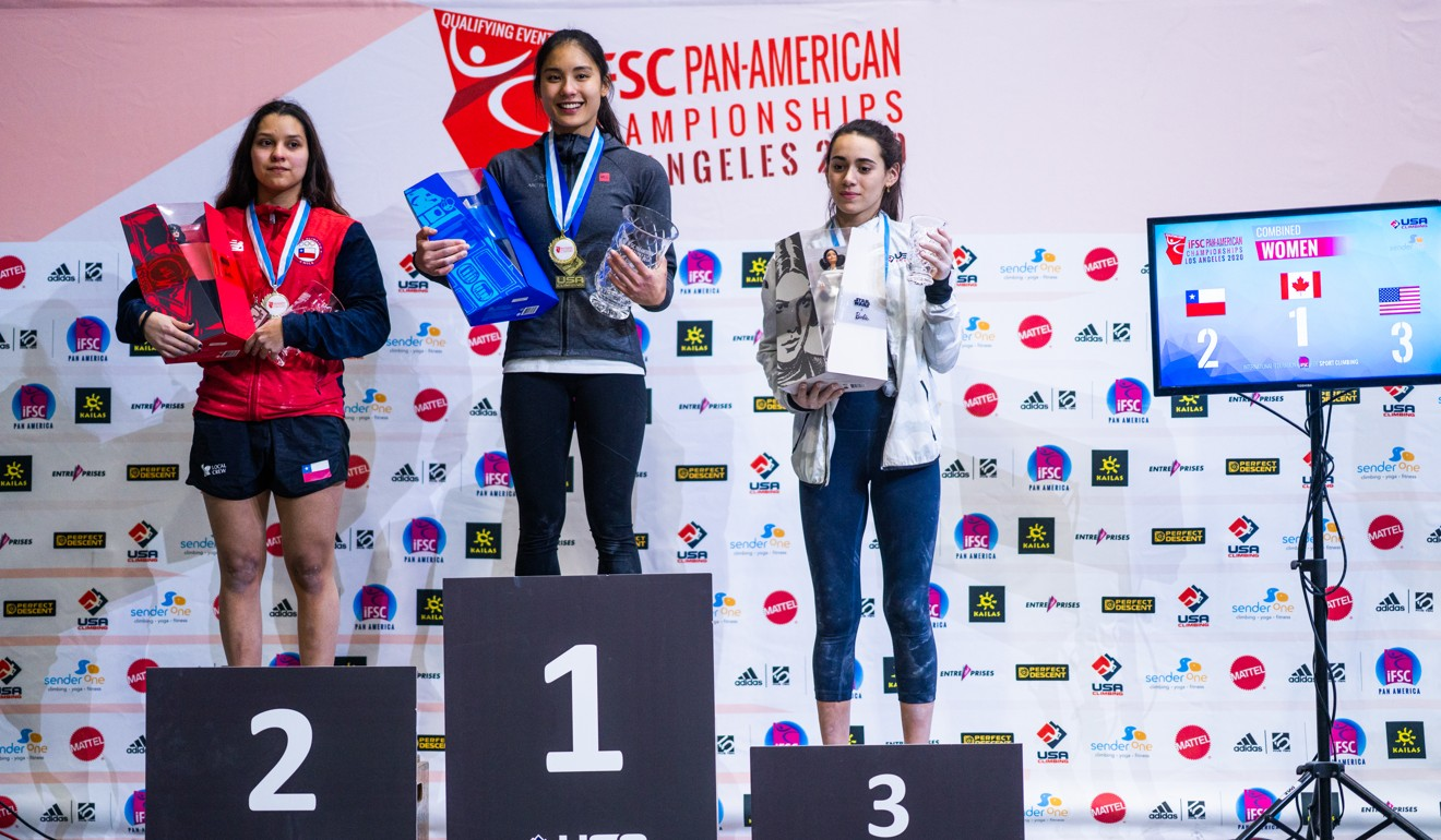 Winner Alannah Yip is flanked by Alejandra Contreras (left) of Chile and Lauren Bair of the US on the podium at the IFSC Pan-American Continental Championships. Photo: IFSC