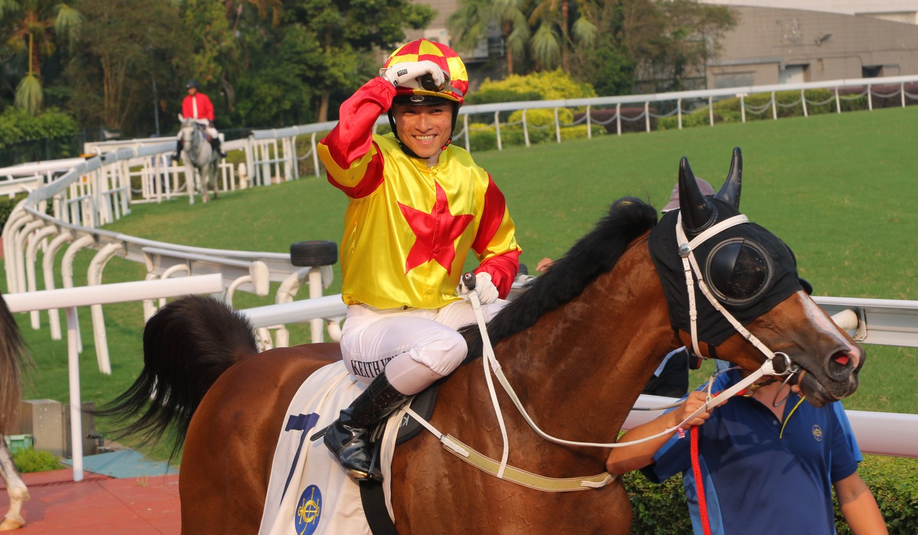 Keith Yeung celebrates a win aboard Savvy Six, who is owned by the same connections as his Derby mount Savvy Nine.