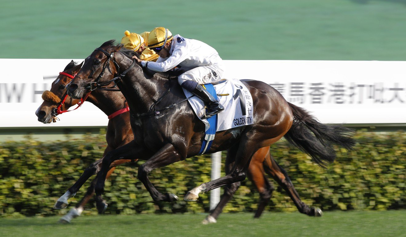 Vincent Ho races past Blake Shinn to win the Hong Kong Derby.