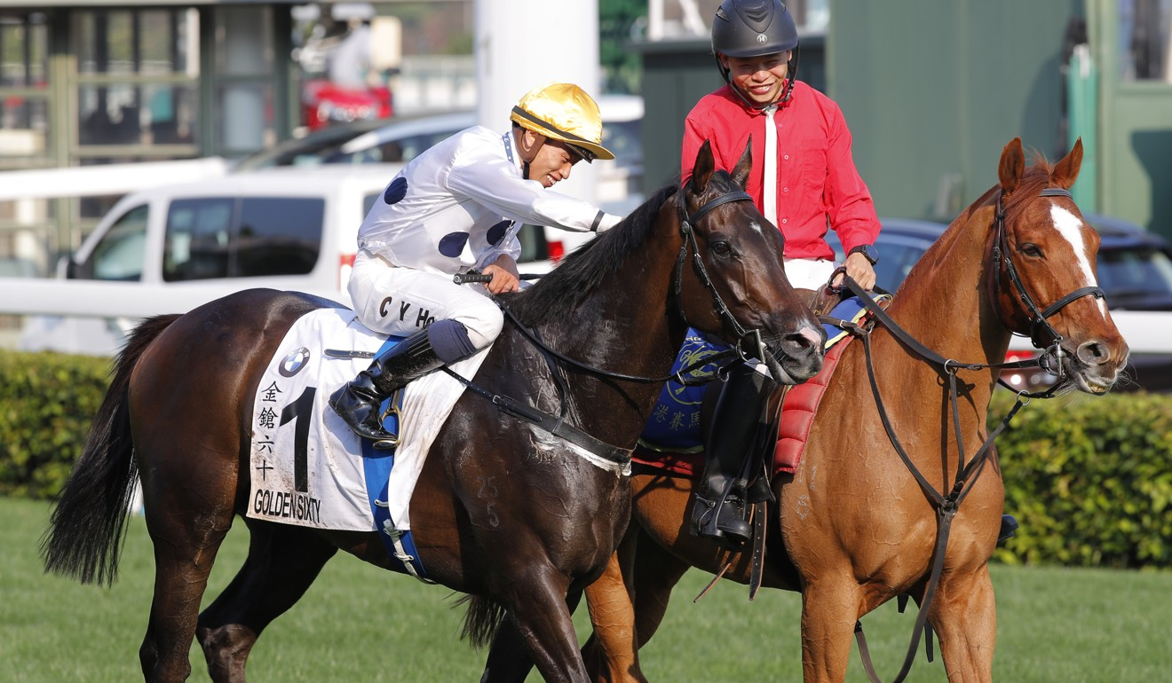 Vincent Ho pats Golden Sixty after winning the Hong Kong Derby on Sunday.