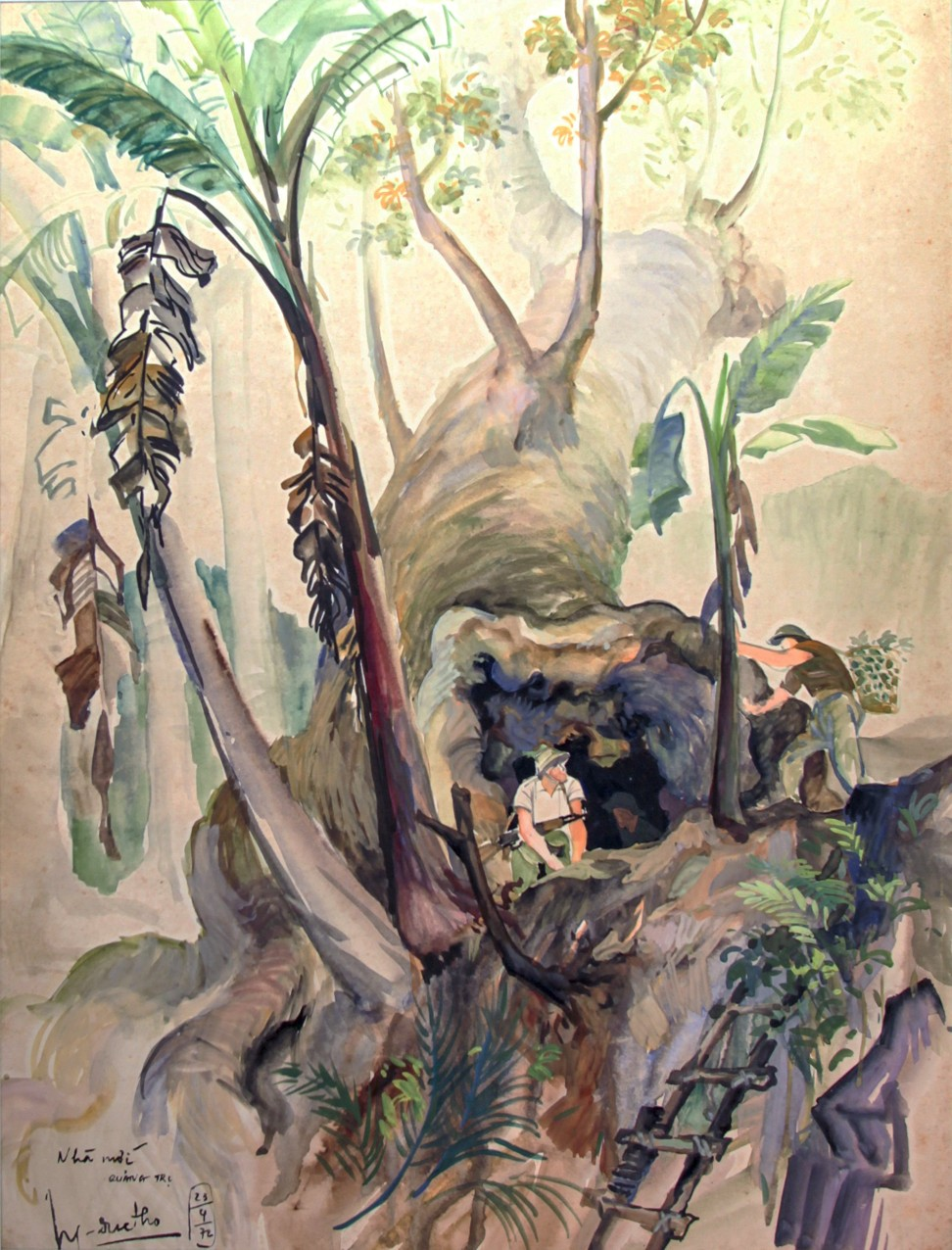 Viet Cong soldiers cook in the shelter of the fallen tree in Tho's 1972 painting. Image: Witness Collection / Nguyen Duc Tho