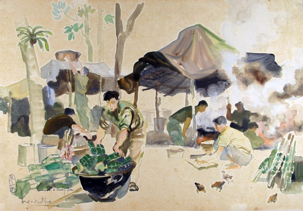 A Viet Cong unit prepares for Lunar New Year celebrations while camping on the Ho Chi Minh trail in Nguyen Duc Tho's 1972 painting. Image: Witness Collection / Nguyen Duc Tho