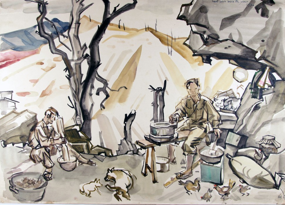 Soldiers on the Ho Chi Minh trail prepare a meal with crabs and rice paper in Anh's 1970 painting. Image: Witness Collection