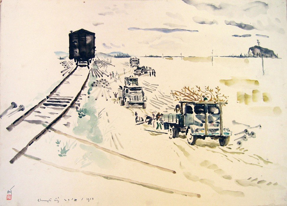 A team lays gasoline pipes on the Ho Chi Minh trail in Anh's 1968 painting. Image: Witness Collection / Bui Quang Anh