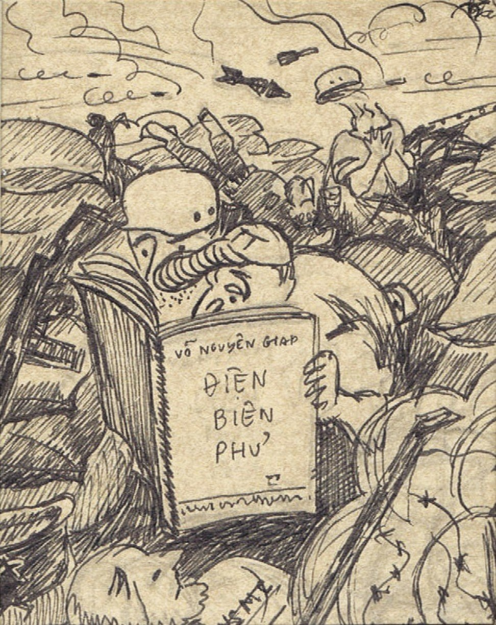 US marines hunker down at Khe Sanh Combat Base learning from the experience at Dien Bien Phu in a sketch by Pham Thanh Tam. Image: Witness Collection
