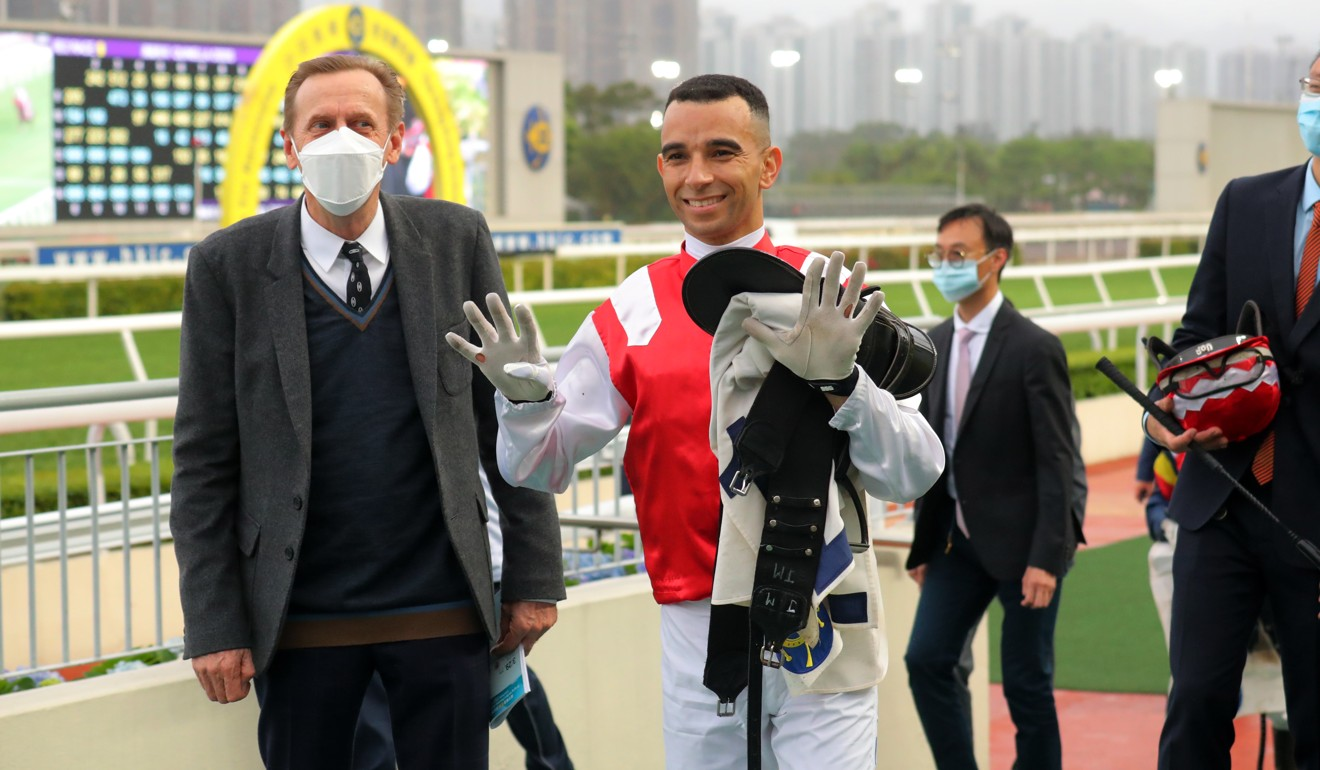 Joao Moreira (right) celebrates bringing up his 900th winner aboard the John Size-trained Picken.