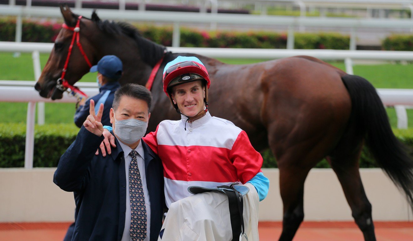 Manfred Man with Chad Schofield after winning at Sha Tin.