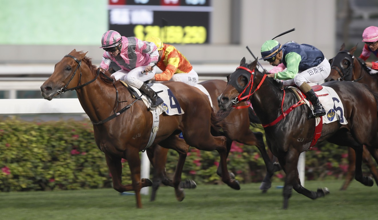 Zac Purton boots home Band Of Brothers at Sha Tin on Sunday.