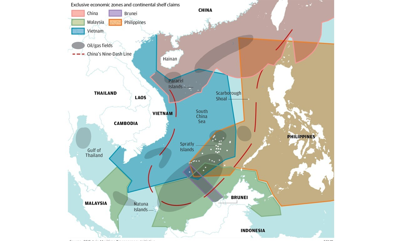 South China Sea exclusive economic zones and continental shelf claims. CSIS Asia Maritime Transparency Initiative/SCMP