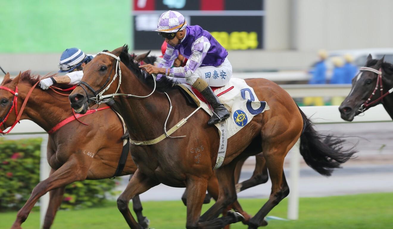 Helene Leadingstar dashes clear to win under jockey Karis Teetan.