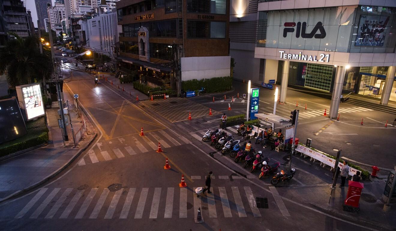 A nearly abandoned street in Bangkok amid the coronavirus lockdown. Photo: Bloomberg
