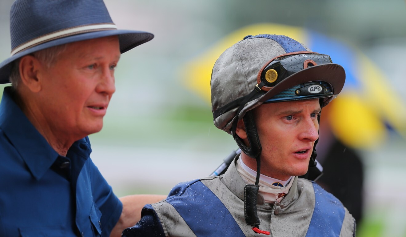 John Moore with jockey Zac Purton after Aethero's first win in Griffin company last year.