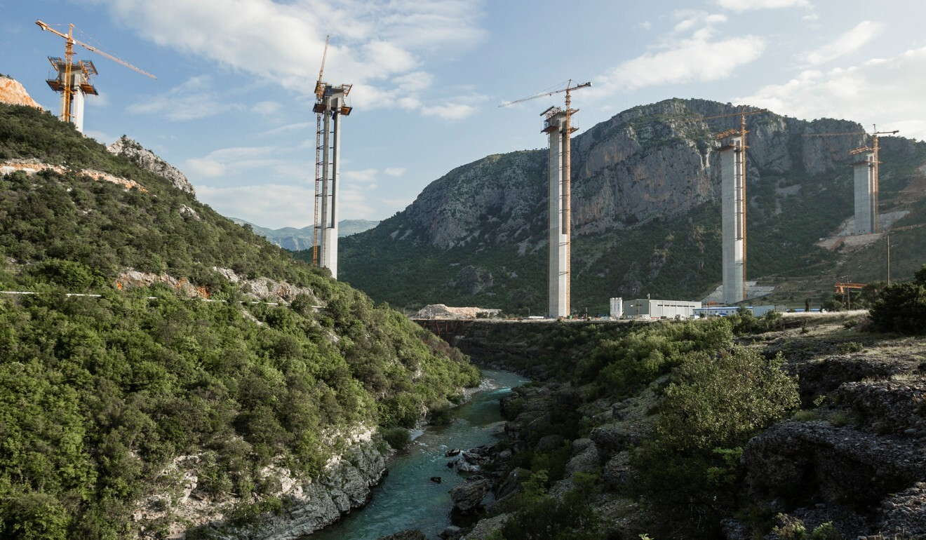 Cement pillars rise above the Moraca River as part of the Bar-Boljare highway construction project in Montenegro in 2018. Photo: Reuters