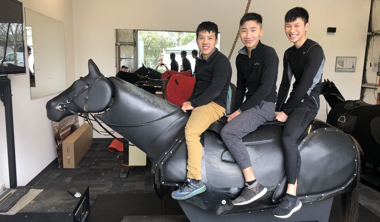 Apprentice jockeys Kenny Lau, Gary Lo and Jerry Chau in Adelaide. Photo: Handout