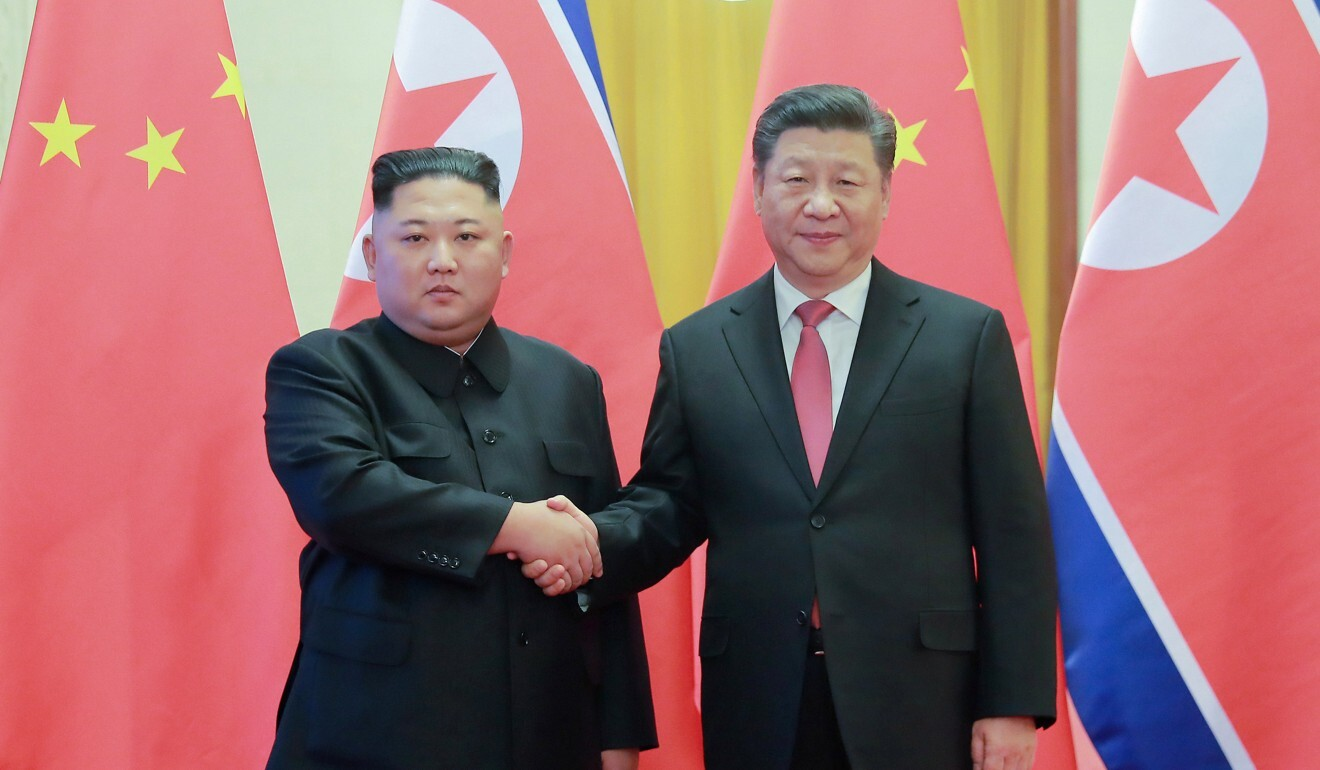 Kim pictured with Chinese President Xi Jinping during his visit to Beijing in January last year. Photo: Reuters