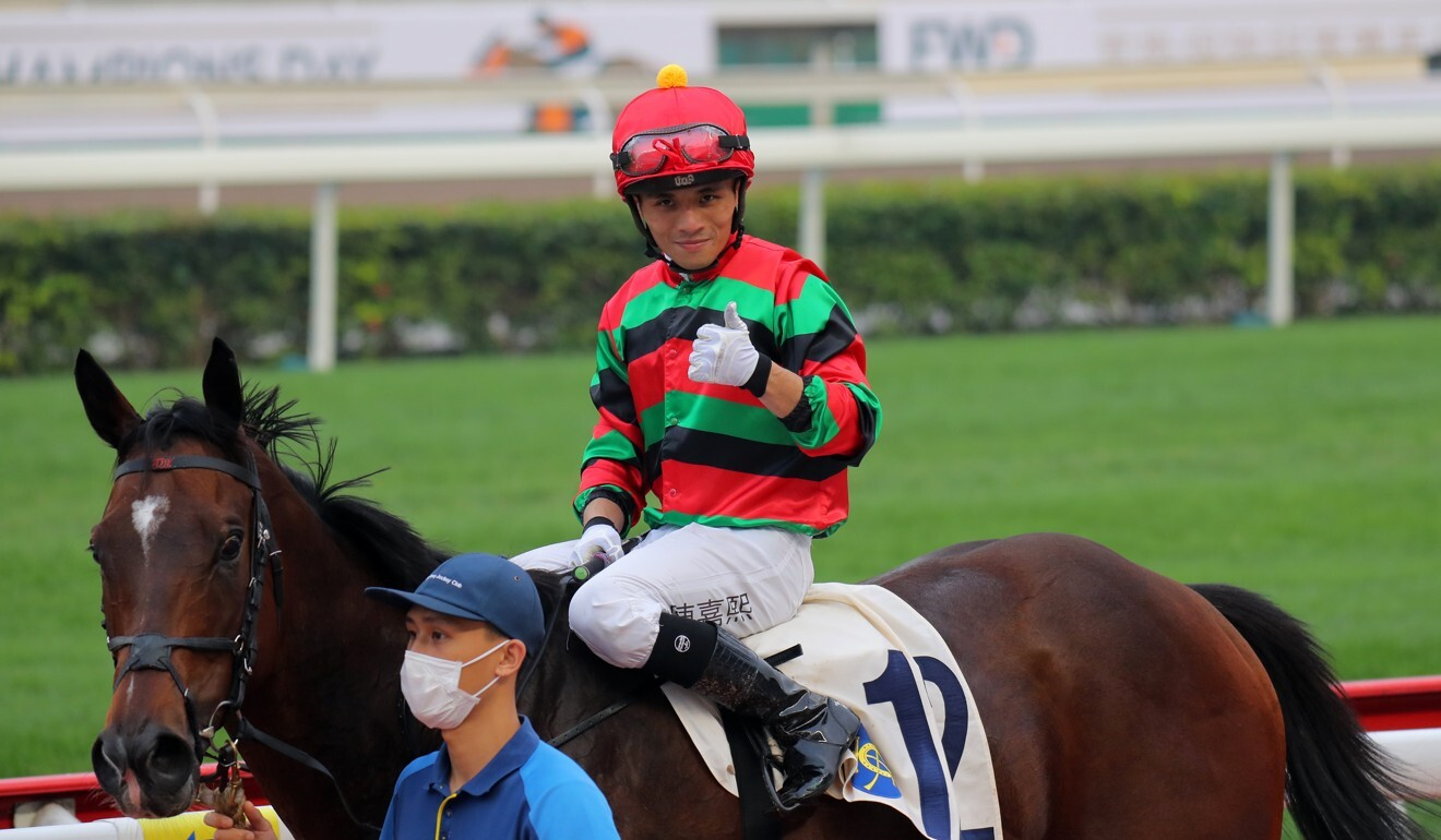 Alfred Chan returns on General's Delight after winning at Sha Tin.