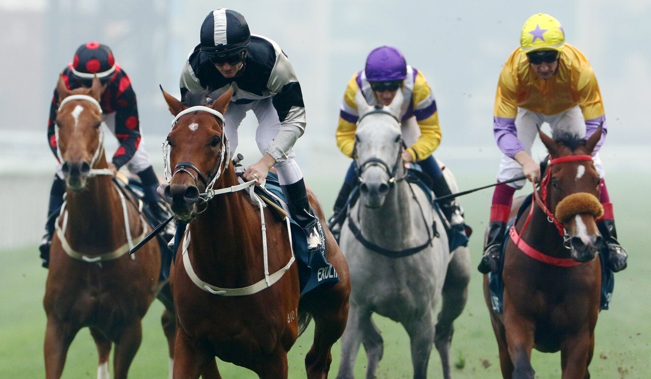 Exultant (second from left) leaves his rivals in his wake.