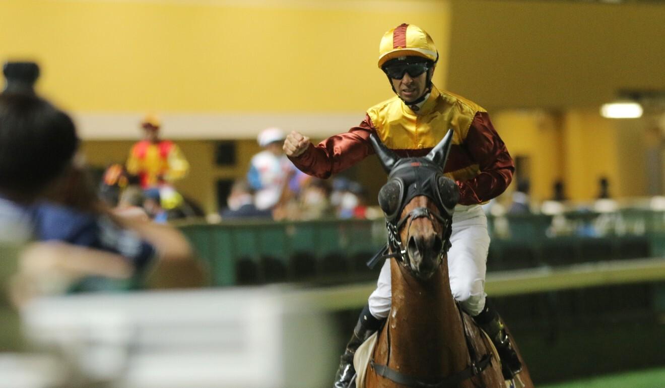 Joao Moreira enjoys Simply Fluke's win.