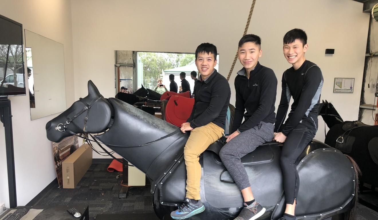 Hong Kong apprentice jockeys Kenny Lau, Gary Lo and Jerry Chau train in Adelaide. Photo: Sam Agars