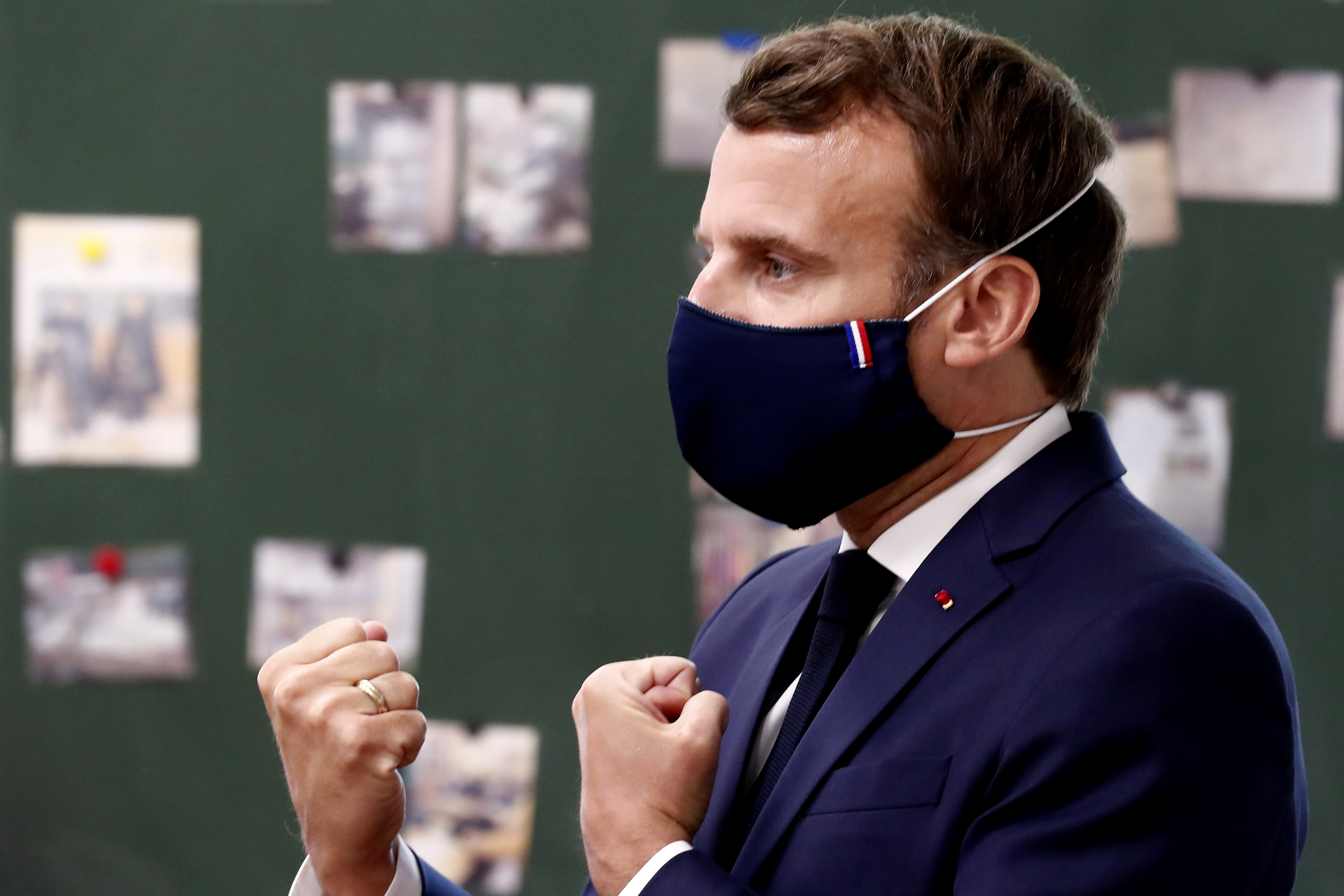 Stylish And Made In France Face Mask President Macron Wore To Accessorise His Suit Raises Profile Of Cloth Masks Everyone In France Will Soon Be Wearing In Public South China Morning