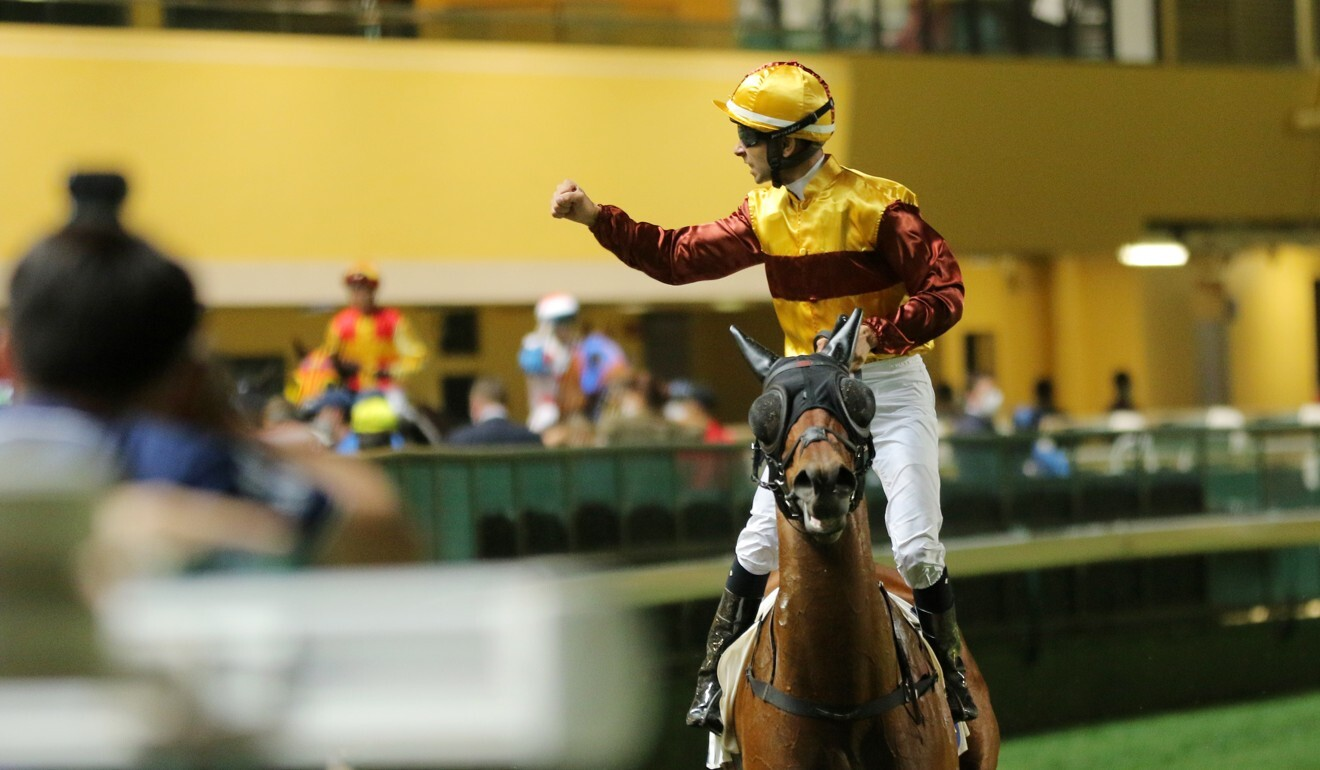 Joao Moreira celebrates a winner at Happy Valley this season.