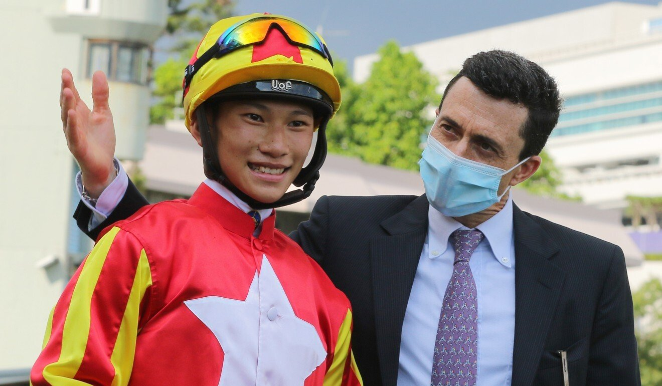 Jerry Chau and Douglas Whyte celebrate Relentless Me's victory.