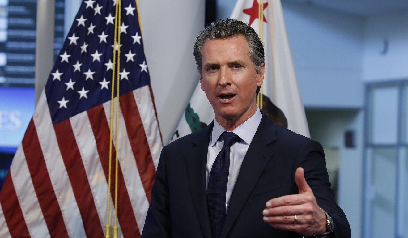 California Governor Gavin Newsom speaks at a news conference in Rancho Cordova, California, in April. Photo: AP