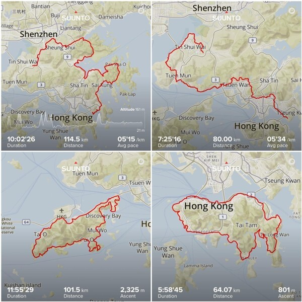 Wong Ho-chung's 360km route around Hong Kong.