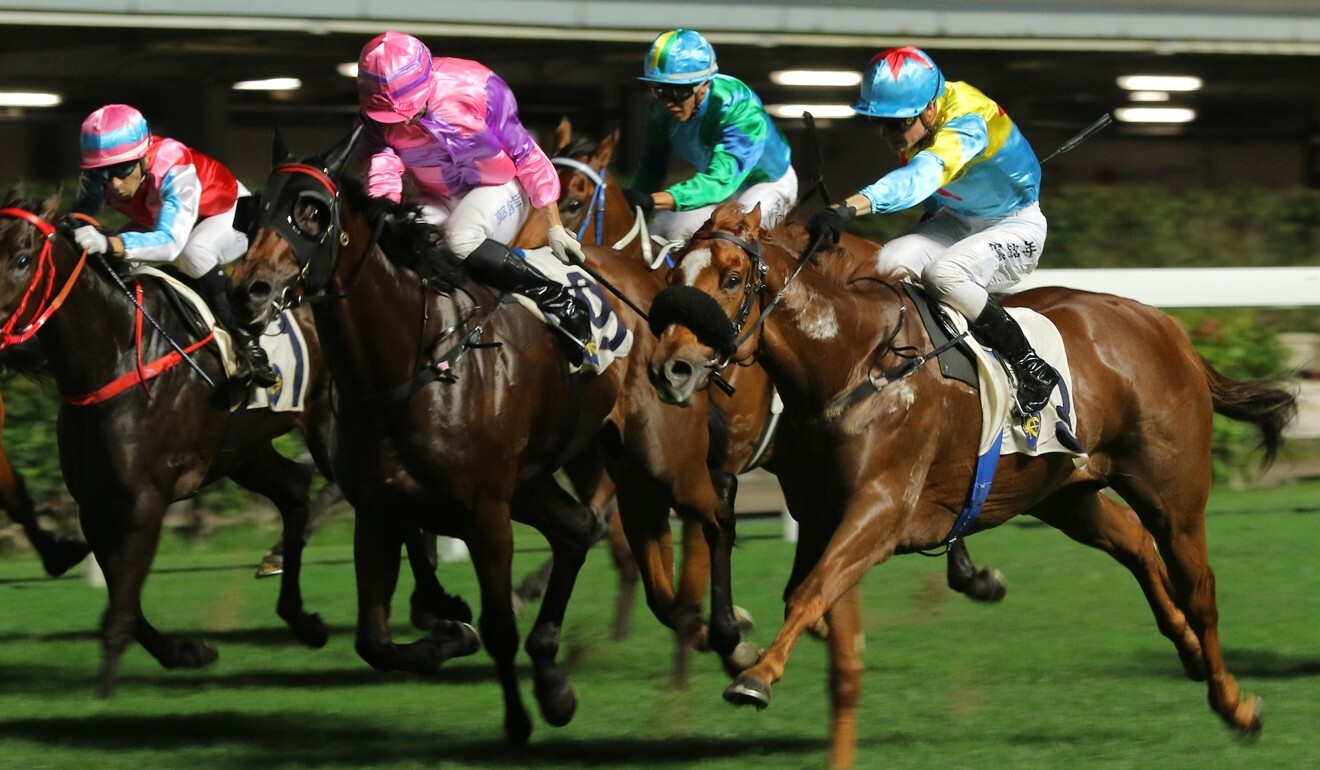 Interstellar (pink silks) finishes second at Happy Valley a fortnight ago. Photo: Kenneth Chan