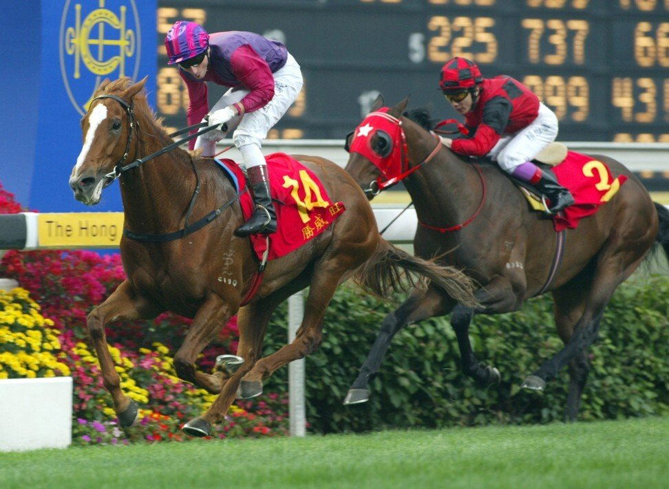 Mare Elegant Fashion wins the 2003 Hong Kong Derby.