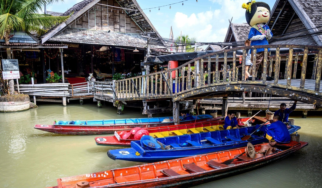 Empty tourist boats at the Floating Market in Pattaya. Photo: AFP