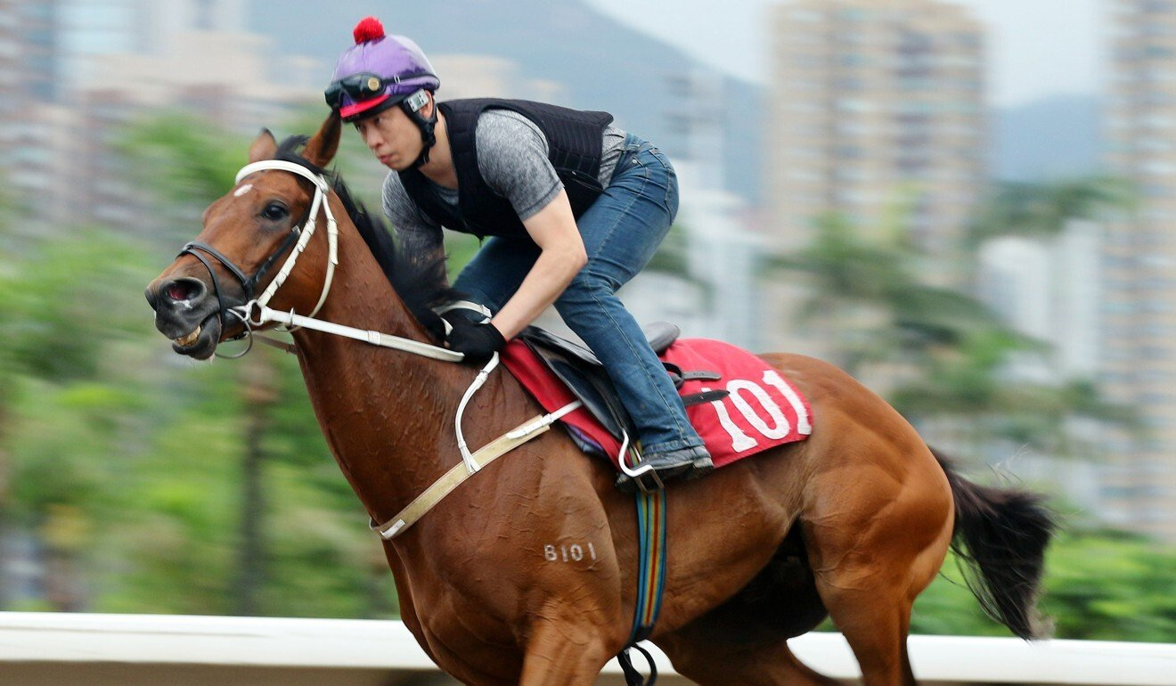 Exultant galloping on the all-weather track at Sha Tin on Thursday.