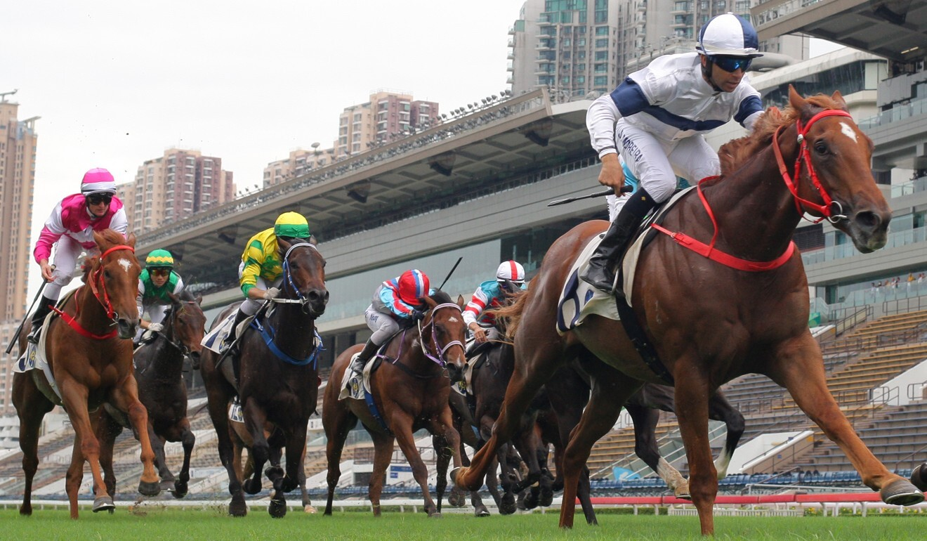 Joao Moreira dashes clear on Scores Of Fun to win at Sha Tin on Sunday.