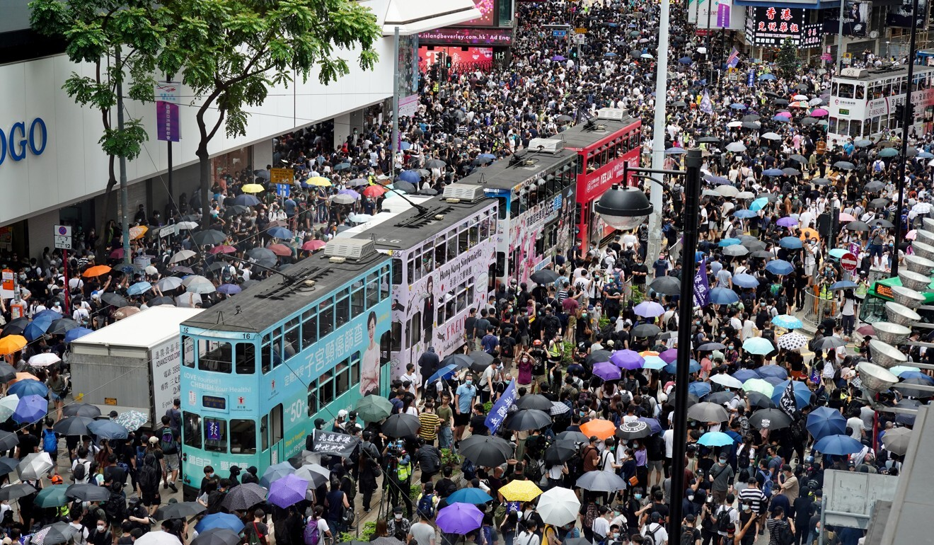 Protesters gather in Causeway Bay on Sunday. Photo: Robert Ng