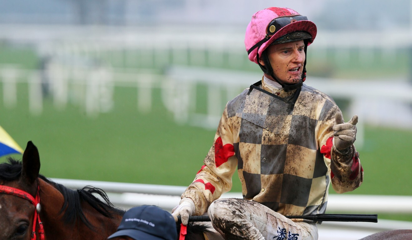 Zac Purton after winning on Glorious Artist at Sha Tin in December.